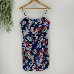 J.Crew Cami Sheath Dress Size 14 XL Blue Floral